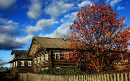 Wooden Houses Autumn Mac wallpaper