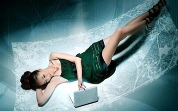 Sexy Woman with Laptop Wallpaper Mac wallpaper