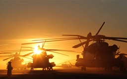 Helicopters At Sunset Mac wallpaper