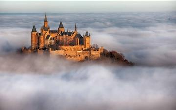 Hohenzollern Castle Fog Germany Mac wallpaper