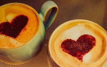 Two Coffee For Hearts Mac wallpaper