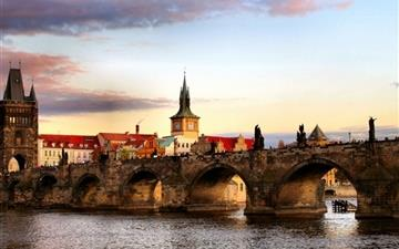 Prague Bridge Landscape Mac wallpaper