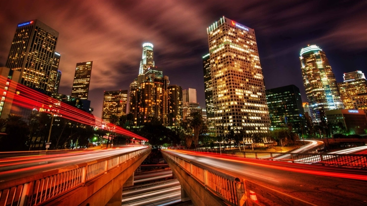 Downtown Los Angeles At Night Mac Wallpaper
