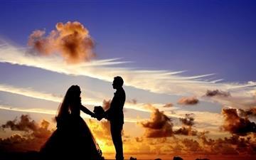 Wedding Tropical Sunrise Silhouette Mac wallpaper