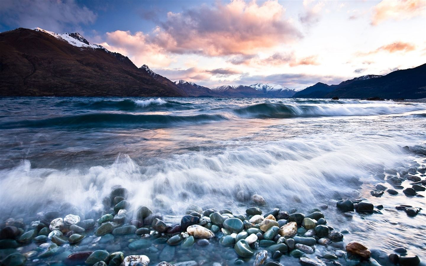 Stones Beach Wave Mountains Clouds Mac Wallpaper Download Free Mac