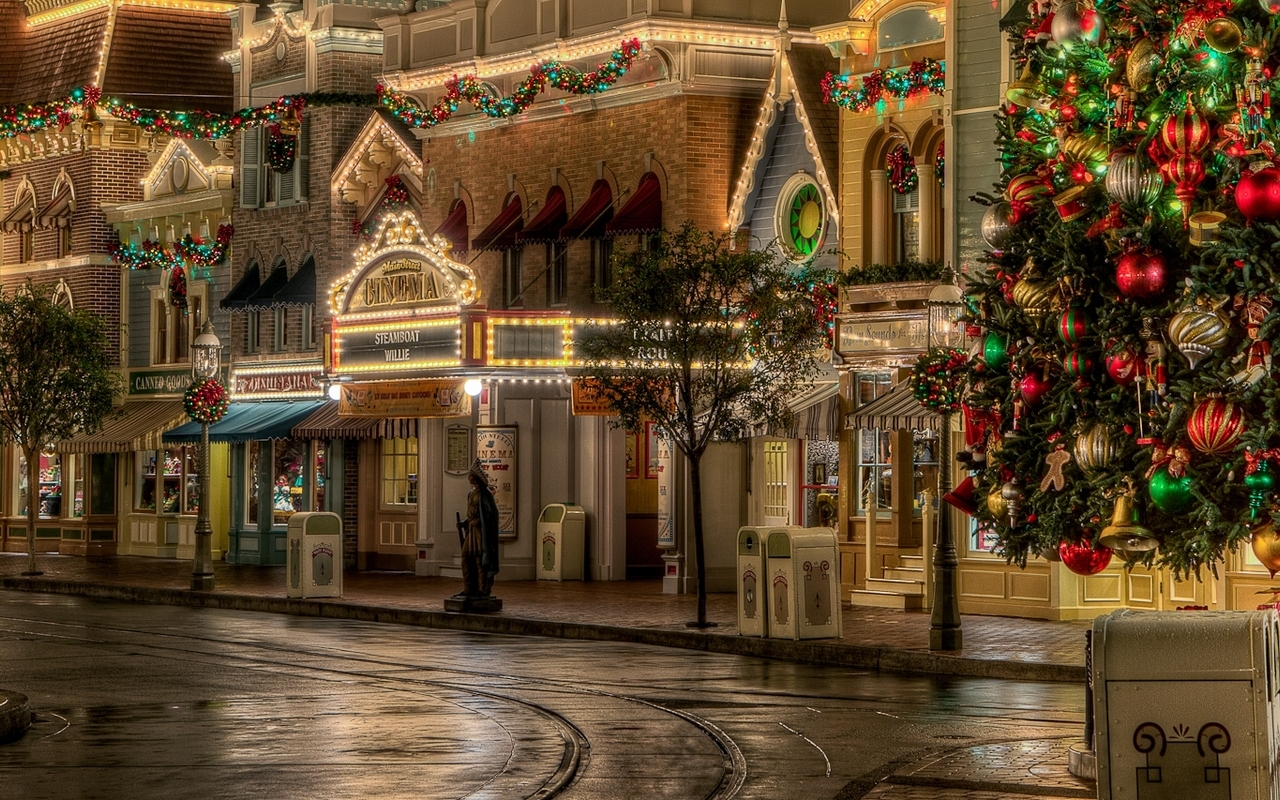 Lovely Christmas Street Decoration Mac Wallpaper Download Free Mac