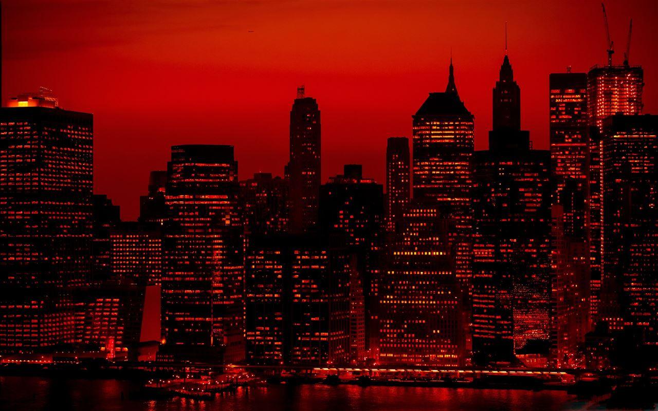 Red Sky At Night New York City Mac Wallpaper Download Allmacwallpaper