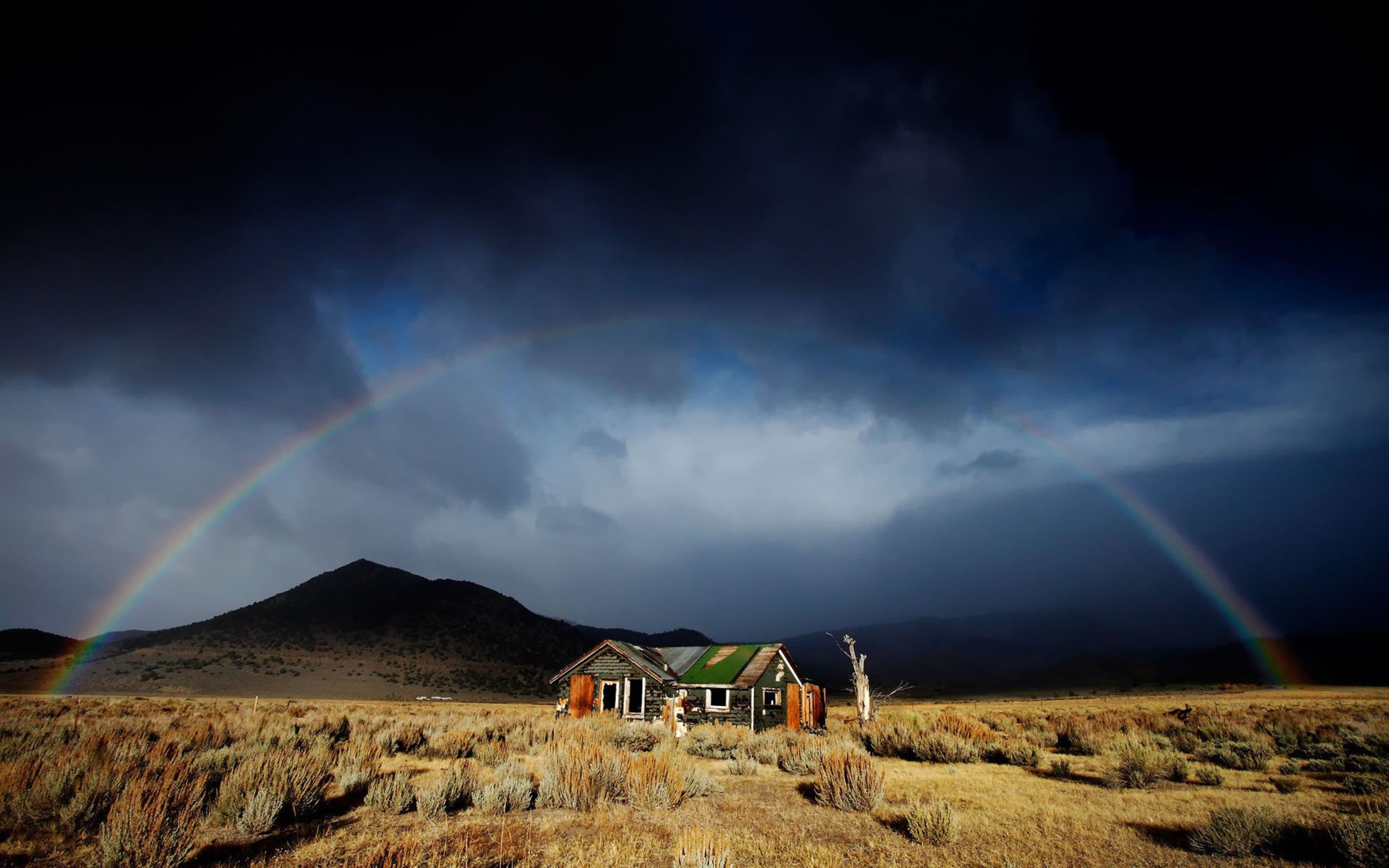 Abandoned House Under Rainbow Macbook Air Wallpaper Download