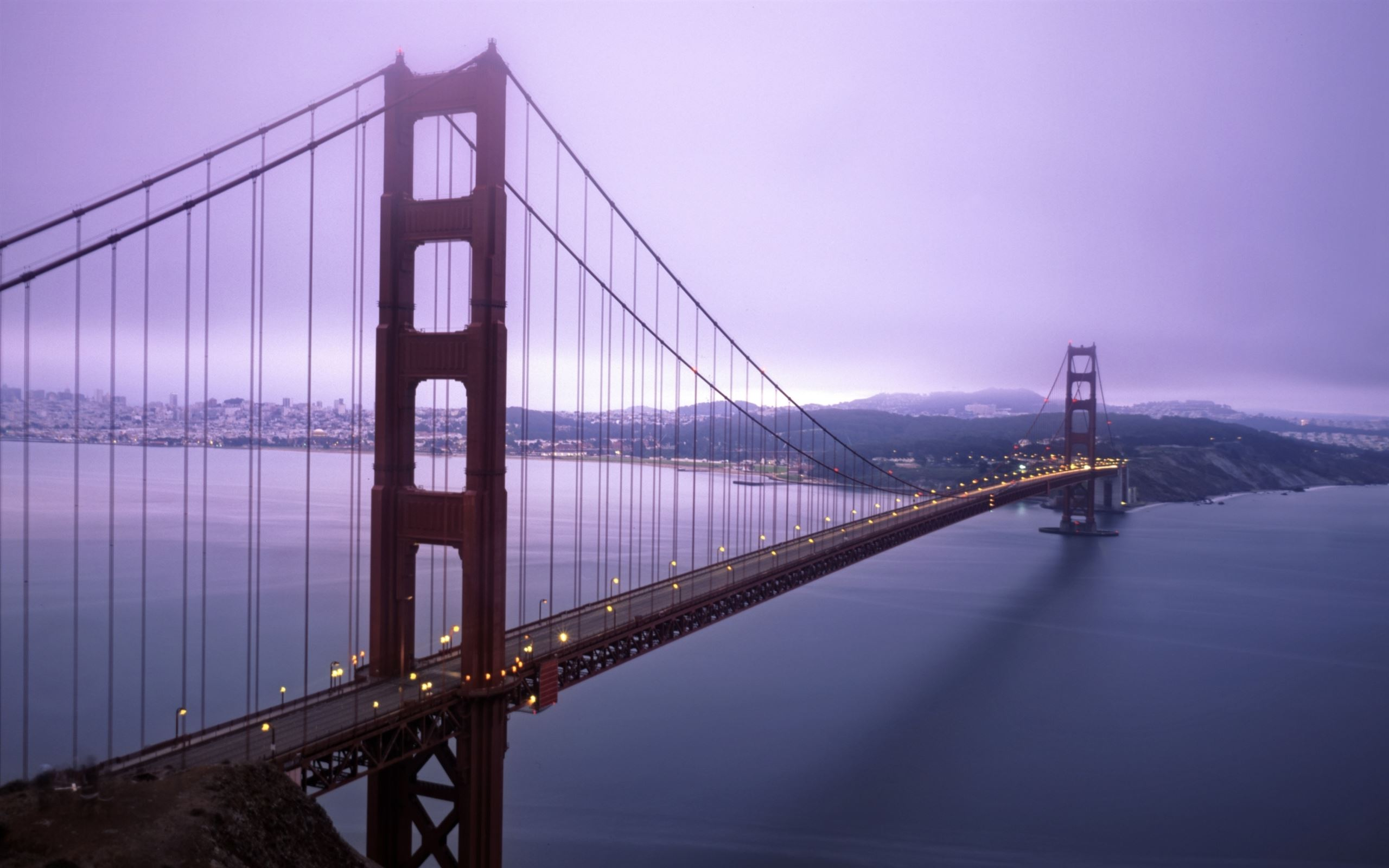 Violet Hour And Fog Surround The Golden Gate Mac Wallpaper