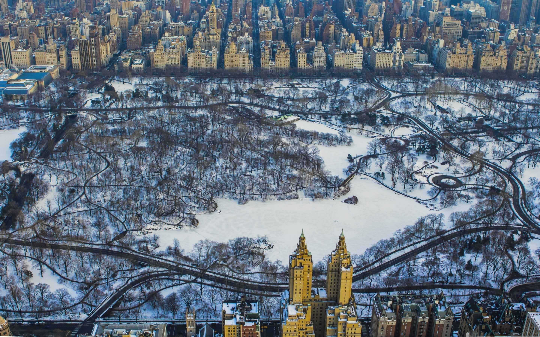 Central Park Winter Aerial Mac Wallpaper Download Allmacwallpaper