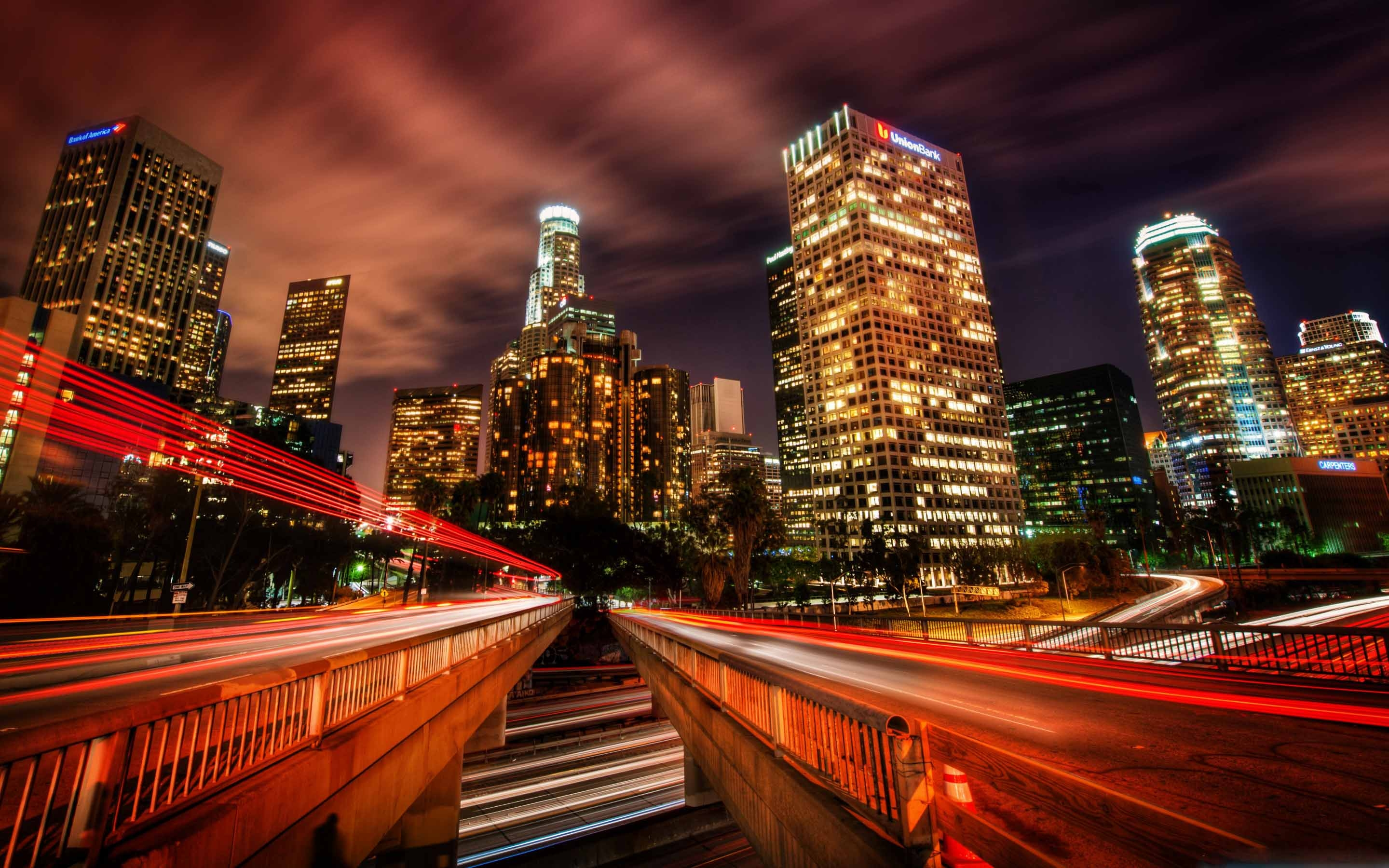 Downtown Los Angeles At Night Mac Wallpaper Download ...