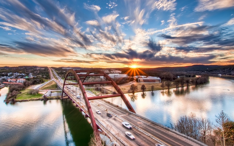 Bridge City (TX) United States  city photos : Pennybacker Bridge Sunrise Austin Texas United States Mac Wallpaper ...