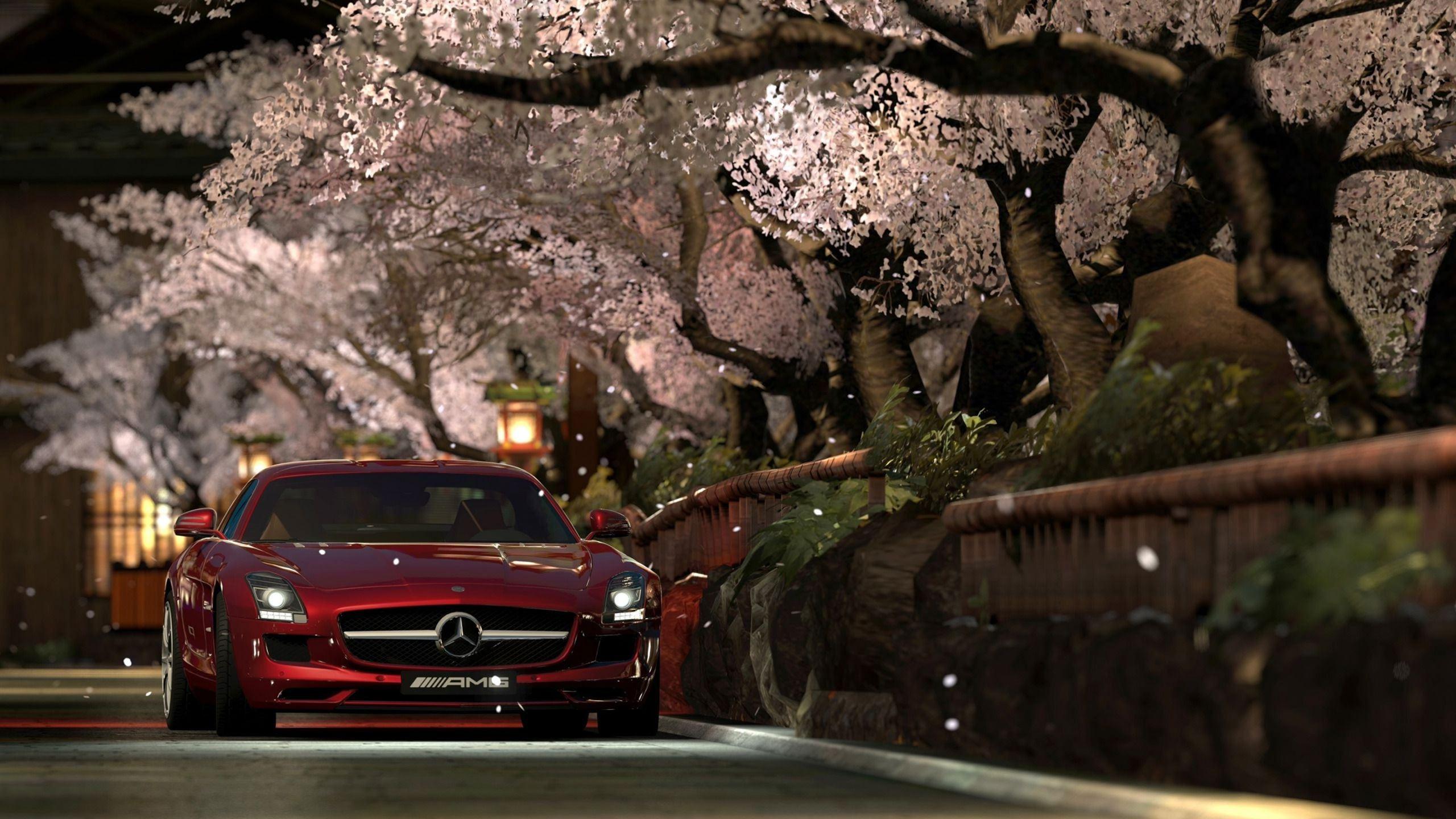 Mercedes Benz Sls Amg Red Night Mac Wallpaper Download Free Mac