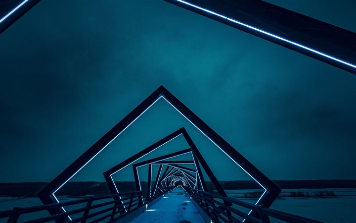 Bridge with neon lights iMac wallpaper