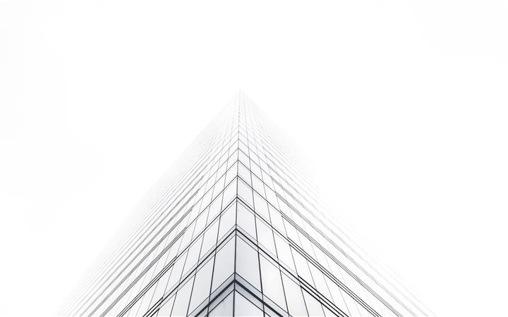 Office building in mist iMac wallpaper