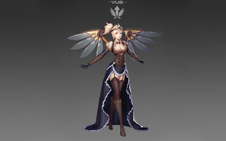 mercy overwatch fan artwork 5k iMac wallpaper