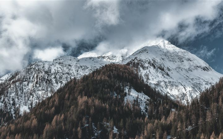 snow capped mountains 5k iMac wallpaper