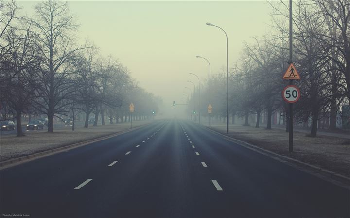 Misty road All Mac wallpaper