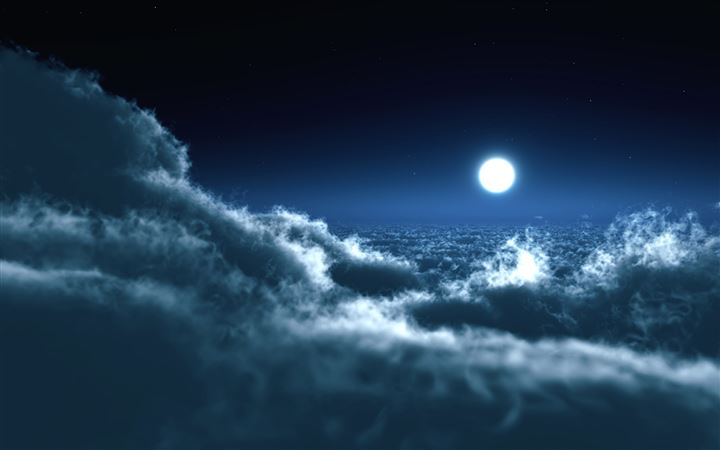 Moon Over Clouds All Mac wallpaper