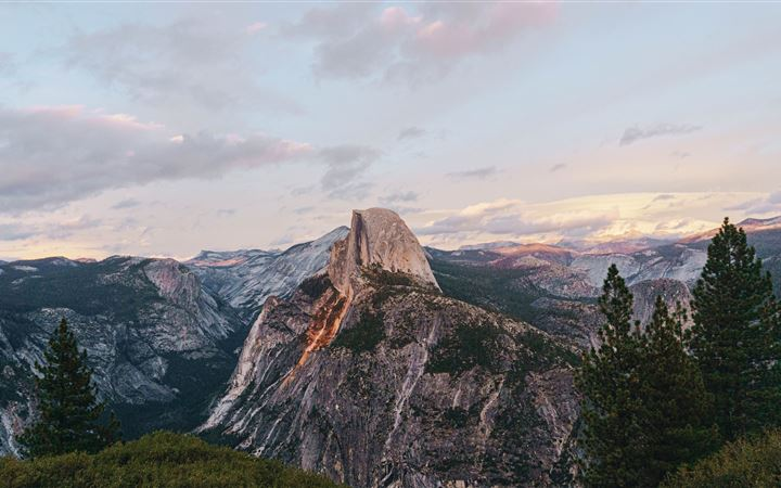 Yosemite National Park Half Dome under blue and wh All Mac wallpaper