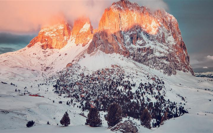 big rock mountain covered in snow 5k All Mac wallpaper
