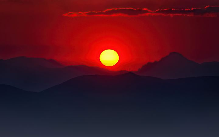 burning mountain sunset 5k All Mac wallpaper