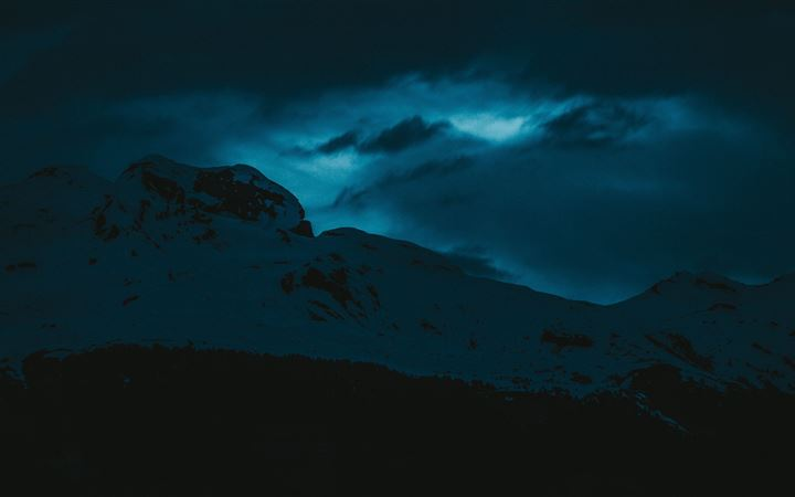 dark evening snow covered mountains 5k All Mac wallpaper