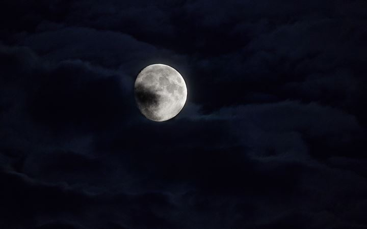 moon behind clouds 5k All Mac wallpaper