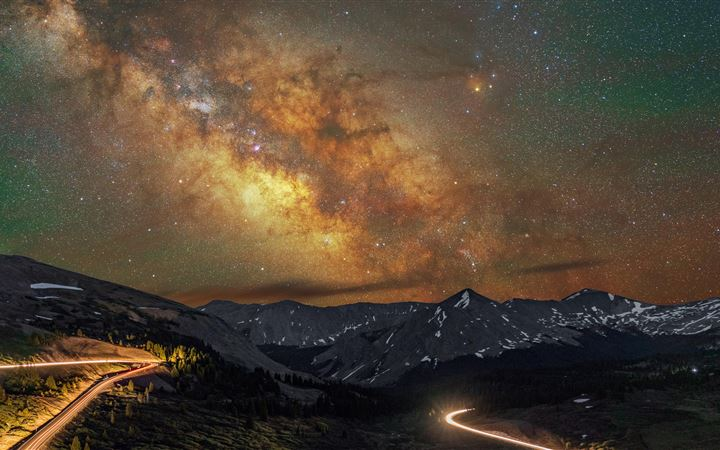mountains long exposure milky way 8k All Mac wallpaper