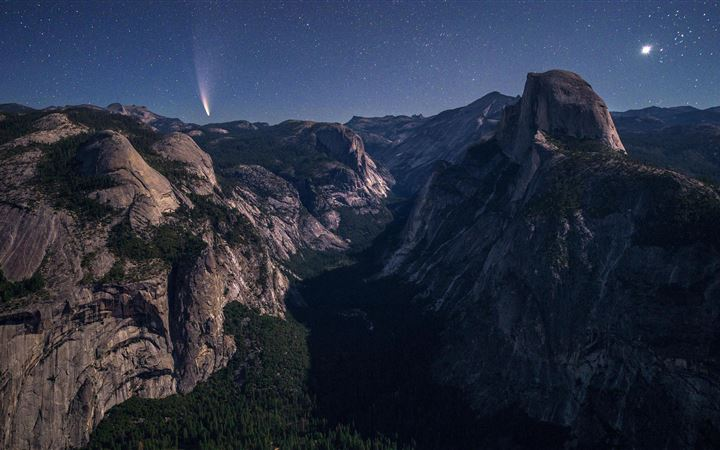 yosemite valley under moonlight 5k All Mac wallpaper