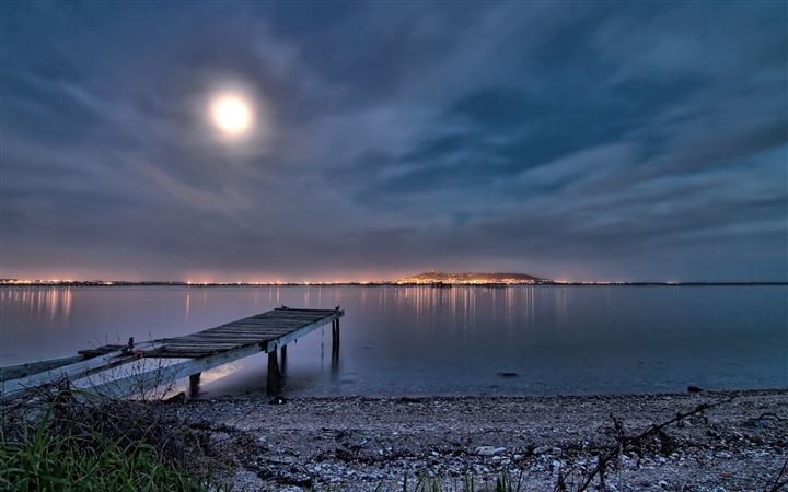 Amazing bridge on sea beach Night view with moon light All Mac wallpaper