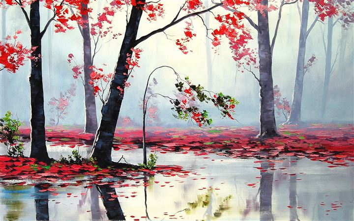 Art Autumn Trees River All Mac wallpaper
