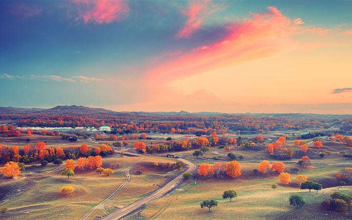 Autumn clouds sunset trees All Mac wallpaper