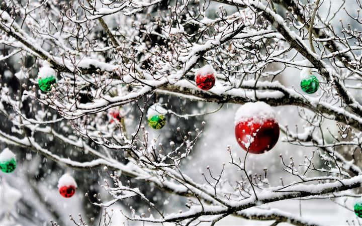 Christmas Ornaments In The Snow All Mac wallpaper