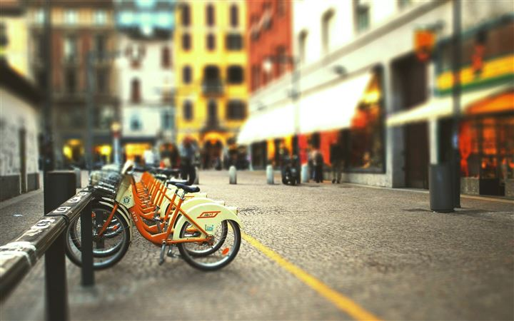 Cityscapes Streets Bicycles Blur All Mac wallpaper