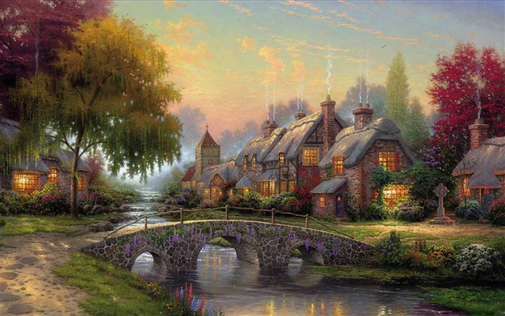 Cobblestone Bridge By Thomas Kinkade All Mac wallpaper