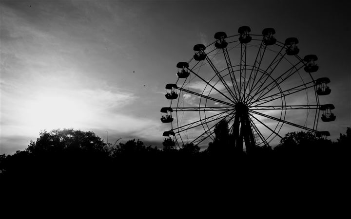 Ferris Wheel In Black And White All Mac wallpaper