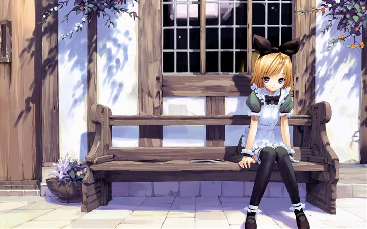 Girl On A Bench All Mac wallpaper
