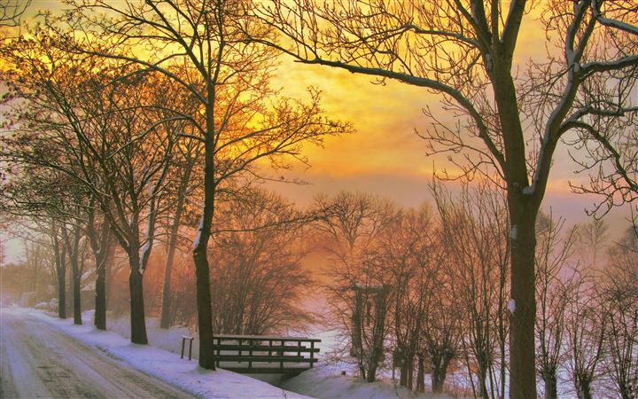 Golden winter sunset All Mac wallpaper