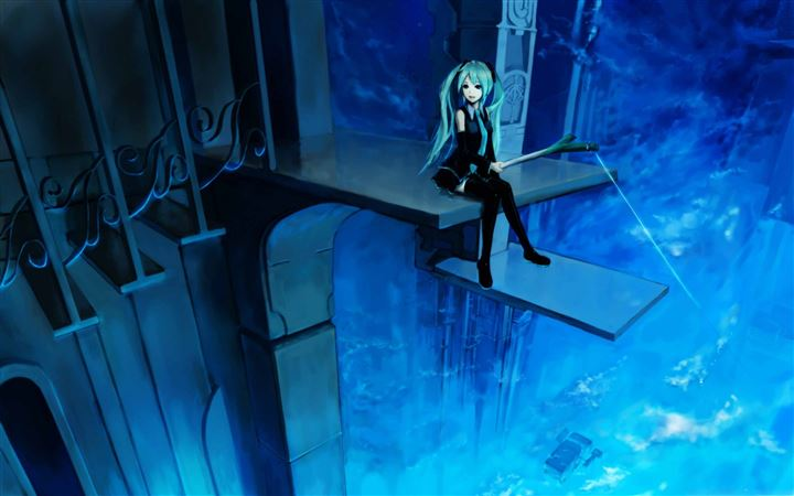 Hatsune Miku Fishing All Mac wallpaper