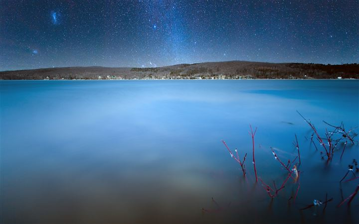 Milkyway over lake All Mac wallpaper