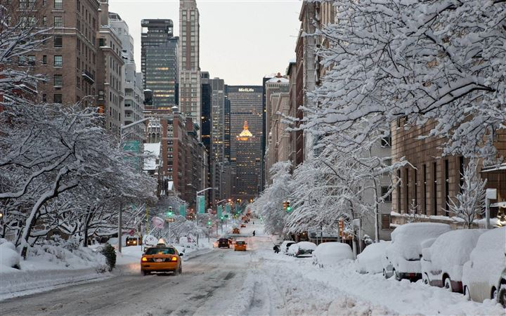 NY Winter Snow USA All Mac wallpaper