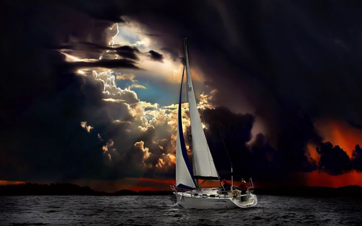 Navigation Sea Dark Clouds Storm All Mac wallpaper