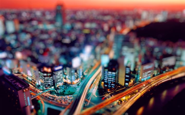 Night city tilt shift All Mac wallpaper