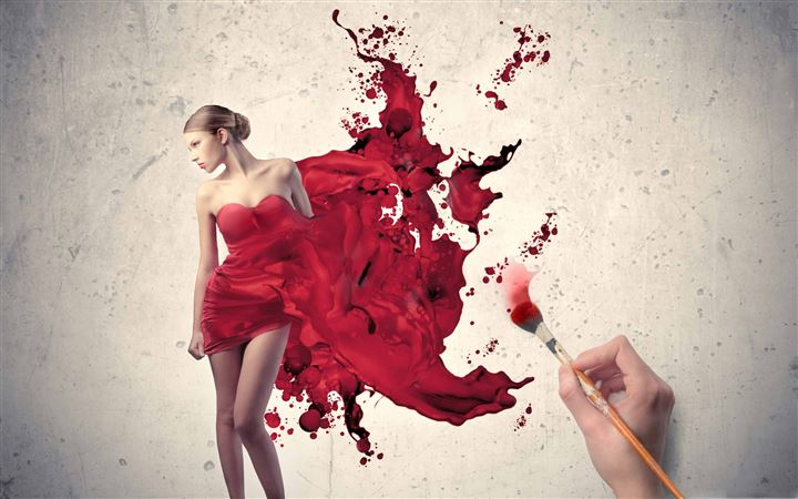Painting The Woman In Red All Mac wallpaper