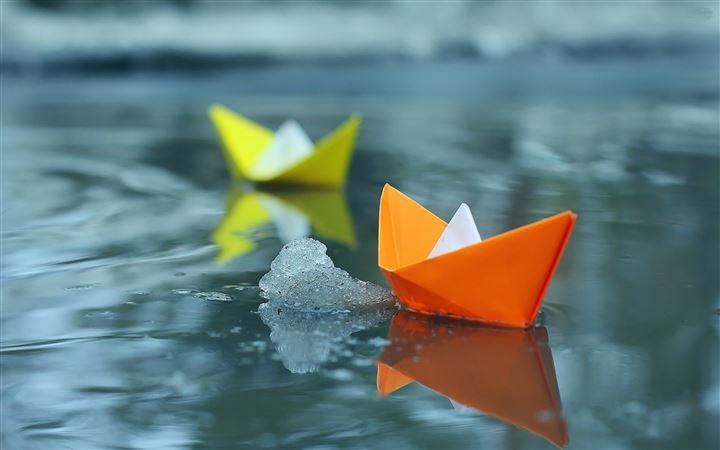 Paper Boats On Icey Lake All Mac wallpaper