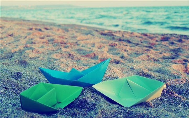 Paper Boats Origami Surface All Mac wallpaper
