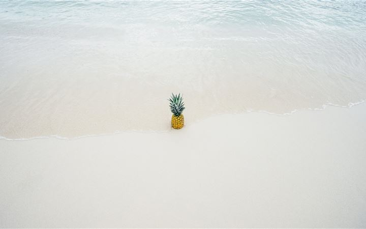 Pineapple in the beach sand All Mac wallpaper