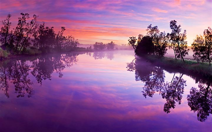Purple river reflection All Mac wallpaper