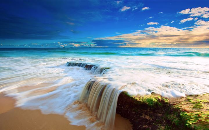 Sea Wave Waterfall All Mac wallpaper